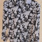 Mossimo Size L Black White Floral Silk Shirt New