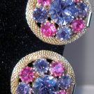 WEISS Earrings Pink Purple Rhinestones Clip On Style Vintage Signed
