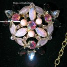 Huge Purple Pink Aurora Borealis Clear Rhinestone Floral Vintage Brooch Estate Jewelry