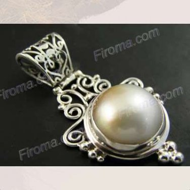 Sterling Silver Mabe Pearl Pendant Stamped 925 Fine Jewelry
