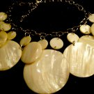 Mother of Pearl Discs Necklace Shell Vintage Jewelry Silver Color Chain
