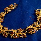 Lisner Signed Bracelet Vintage Floral Amber Borealis Rhinestones Estate Jewelry