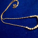 Clear Rhinestone Tennis Pendant Gold Tone Chain Necklace Costume