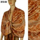 Pashmina Wool Scarf Rust Beige Floral Print Long Wrap Shawl 813 04
