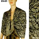 Pashmina Wool Scarf Brown Beige Blue Floral Print Long Wrap Shawl 814 01
