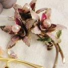 Purple Enamel Vintage Brooch Flower Pearls Pin Estate Jewelry