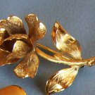 Vintage Brooch Gold Rose Floral Estate Jewelry Costume Pin