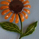 Brown Large Enamel Flower Vintage Brooch Pin Estate Find