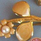 Vintage Brooch Gold Flower Pearl Estate Costume Jewelry
