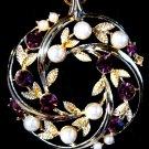 Lisner Purple Rhinestone Pearl Pendant Gold Tone Chain Necklace