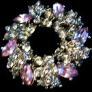 Pink White Rhinestone Vintage Brooch Flower Pin Estate Jewelry