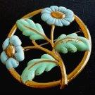 Blue Gold Enamel Brooch Large Flower Vintage Pin Jewelry