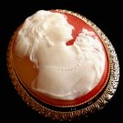 Carved Shell Cameo Brooch Unsigned Estate Jewelry