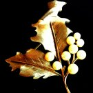 Trifari Signed Brooch Faux Pearls Grape Leaf Vintage Jewelry Pin