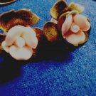Porcelain Rose Earrings Post Back Bronze Tone Metal Pierced