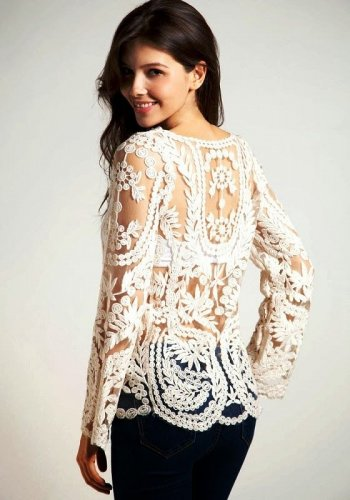 Ivory Lace Blouse Size S Small Top Sheer Accents Tunic Long Sleeves