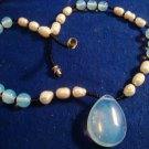 Opalite Glass Necklace Beaded Freshwater Pearls