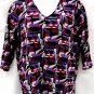 Russell Kemp 2X Blouse Purple Red Black Crinkled Polyester