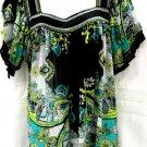 eci 2X Blouse Black Green Semi Sheer Crinkled Polyester