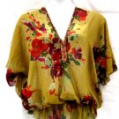Lane Bryant 18 20 Blouse Semi Sheer Floral Polyester