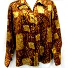 Jennifer Lloyd 2X Shirt Brown Black Animal Print Shiny Polyester