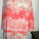 Chico's Stretch Soft Knit Blouse Size 2 M to L White with Pink Print New NWOT