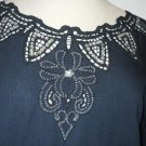 Battenberg Lace Blouse S Top Black Short Sleeve Silver Sequins Evening New Small