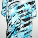 JM Collection XL Blue White Stretchy Floral Top Short Sleeve T Shirt New w/o Tag