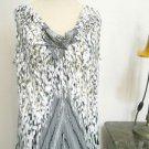 Calvin Klein Slinky Top Size L Black White Gold Blouse Draped Neck New NWOT