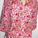 Jones New York Top Shirt Size M Linen Cotton Pink Green Floral 3/4 Sleeves New