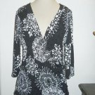 Joseph Ribkoff Size 14 Top Black White Stretchy Career Blouse Sequins New NWOT
