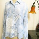 Cable & Gauge Silk Shirt Size 10 Blue White Color Button Front Long Sleeves New