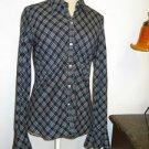 Ralph Lauren Shirt Size S Black White Stripes Checks Button Front Long Sleeves