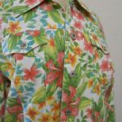 Liz Claiborne L Jacket Floral Denim Green Pink White 3/4 Sleeves Cotton New