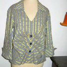 Joseph Ribkoff 12 Career Blouse Black White Gold Check Side Zipper Designer Top