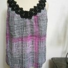 Apostrophe PS Tank Top White Black Purple Checked Floral Lace Petite Small New