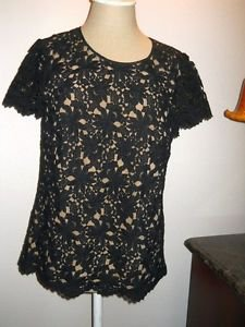 Talbots Size 8 Black Lace Evening Top Gorgeous Floral Formal Short Sleeves New