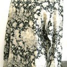 Anne Klein Size 12 Shirt Pure New Wool Floral Long Sleeve Black Taupe Flowers