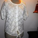 French Laundry Blouse Size M White Lace Short Sleeves Top Elastic Hem New no Tag