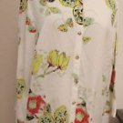 Citron Santa Monica Silk Top L Floral New Fruits Butterflies Flowers Shirt NWOT