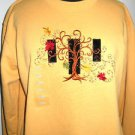 Size M Heavy T Shirt Pumpkin Yellow Crew Neck Top Embroidered Long Sleeves New