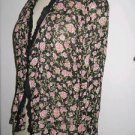 Jenny Helene Size Small S Shirt Silk Black Pink Floral Roses Top Career Long Slv