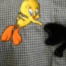 Tweety Bird Size M Black White Shirt Check Long Sleeve Great Used Warner Bros