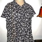 CHAPS Shirt Size XL Black Pink Floral Button Front Ruffled Career Top New