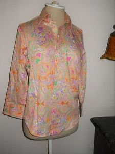 CHAPS Shirt Size S Orange Pink Purple Green Paisley Floral No Iron Top 3/4 Sleev