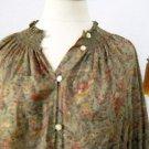 Ralph Lauren Shirt Size L Blouse Career Top Olive Green Rust Floral Cotton New