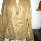 Coldwater Creek Jacket Size M Gold Metallic Cotton Linen Fabric Medium New NWOT