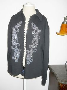Black Size M Jacket Rhinestone Studs Weekend Zip Front Casual Leisure Bling New