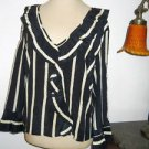 Carole Little Size L Shirt Silk Striped Black Beige Long Sleeve Elegant New NWOT
