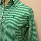 Ralph Lauren Sport Shirt Size 6 Green White Striped Polo Embroidery Cotton Top